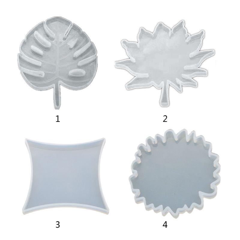 FLGO * DIY杯墊牛皮環氧模具圓形楓葉矽膠模具