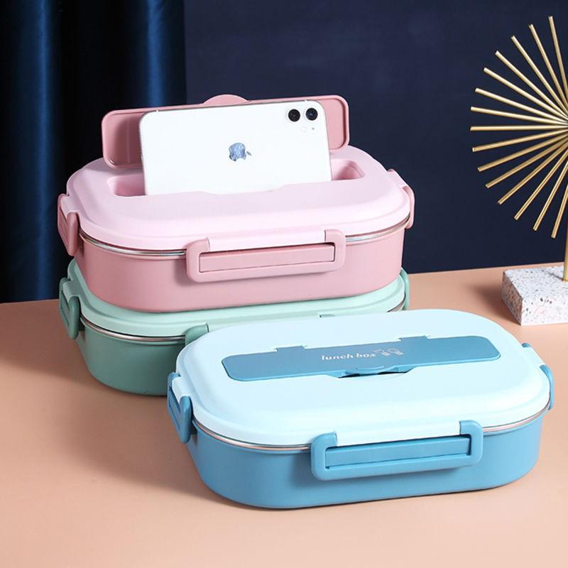 【爆款 限時特賣  】【送湯碗】帶蓋防漏304不銹鋼飯盒分隔學生餐盒上班族成人便當盒