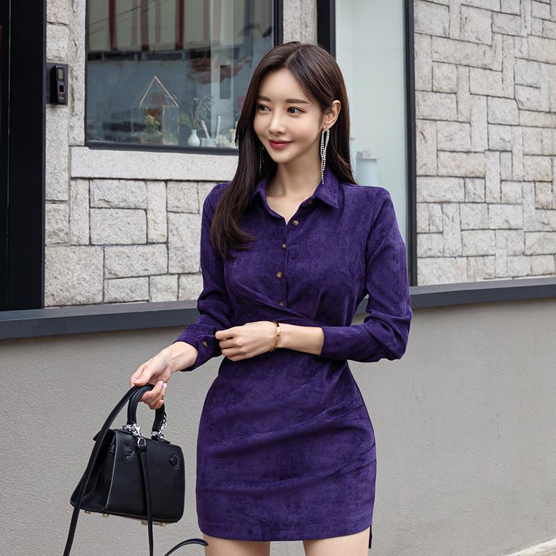 紫色襯衫領短洋裝正韓女生秋天氣質輕熟女洋裝officelady迷你洋裝連身裙