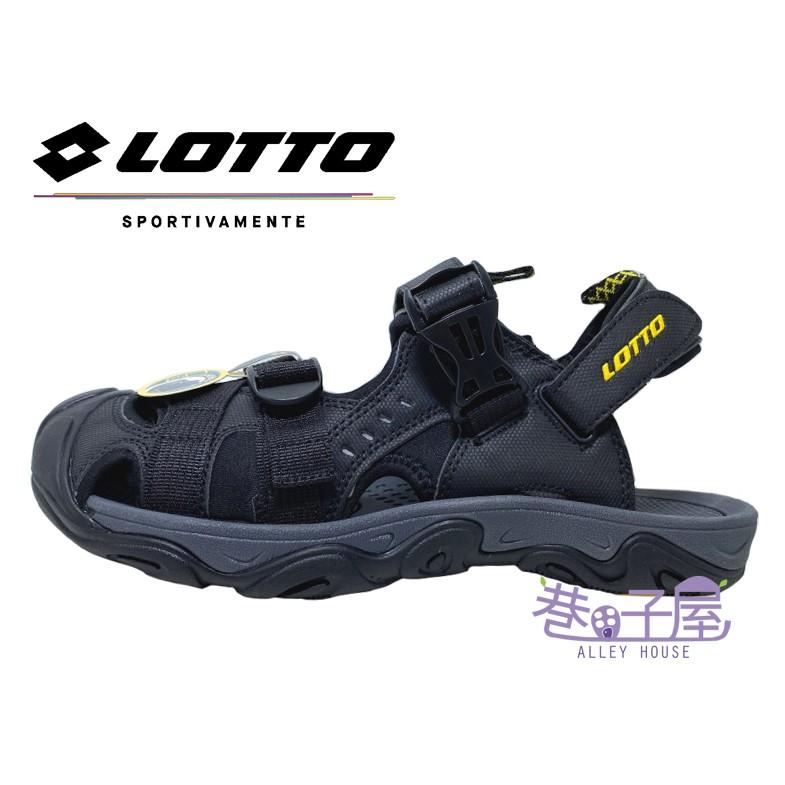 LOTTO樂得-義大利第一品牌 男款兩穿式戶外運動護趾涼鞋 涼拖鞋 [LT9AMS0180] 黑【巷子屋】