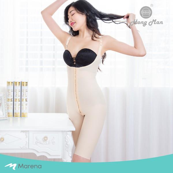 瑪芮娜 Marena/ SFBHS護腰美背膝上式排扣型塑身衣-膚色/日常塑身運動系列/美國原裝進口