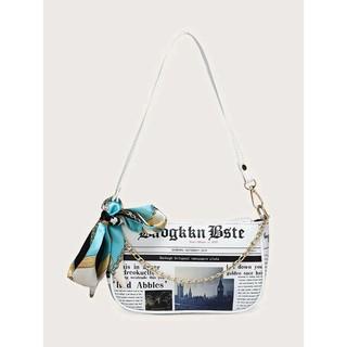 獨特歐洲歐風報紙圖案含圍巾裝飾法棍包側肩背包鏈條包鏈帶包斜背包小型包包 女包書包F5741 臺南市