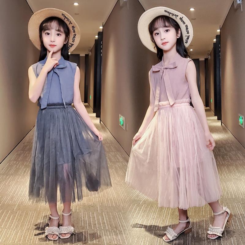 【Sugerkids】洋裝 女童 連衣裙 網紅 超洋 氣套裝裙 2020 兒童裝 夏季 中大童 女孩 公主紗裙 潮
