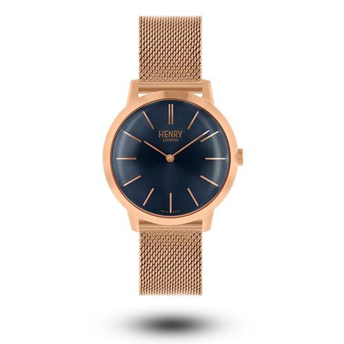 HENRY LONDON 英國設計師品牌復古手錶 - 藍面 / 玫瑰金指針 / 玫瑰金刻度