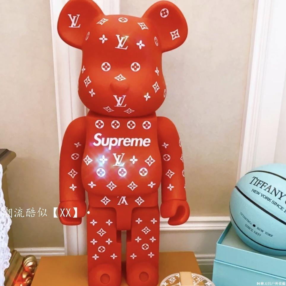 現貨bearbrick 暴力熊supreme潮流公仔玩偶手辦模型玩具擺件400%