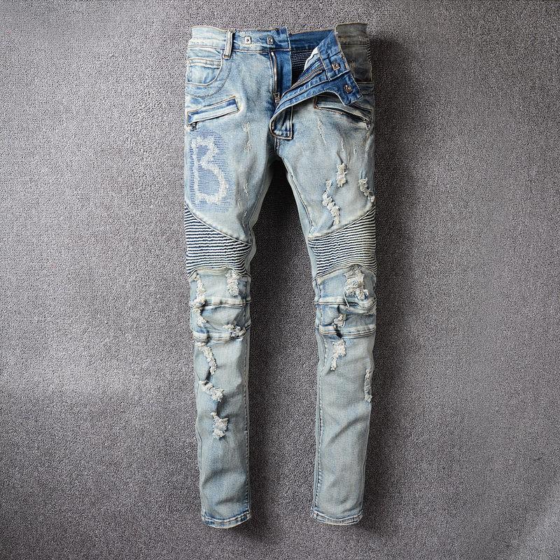 BOYS「實拍」BALMAIN JEANS 牛仔褲水洗修身小腳牛仔褲 巴爾曼直筒牛仔褲 經典款 歐美時尚潮流破洞牛仔褲