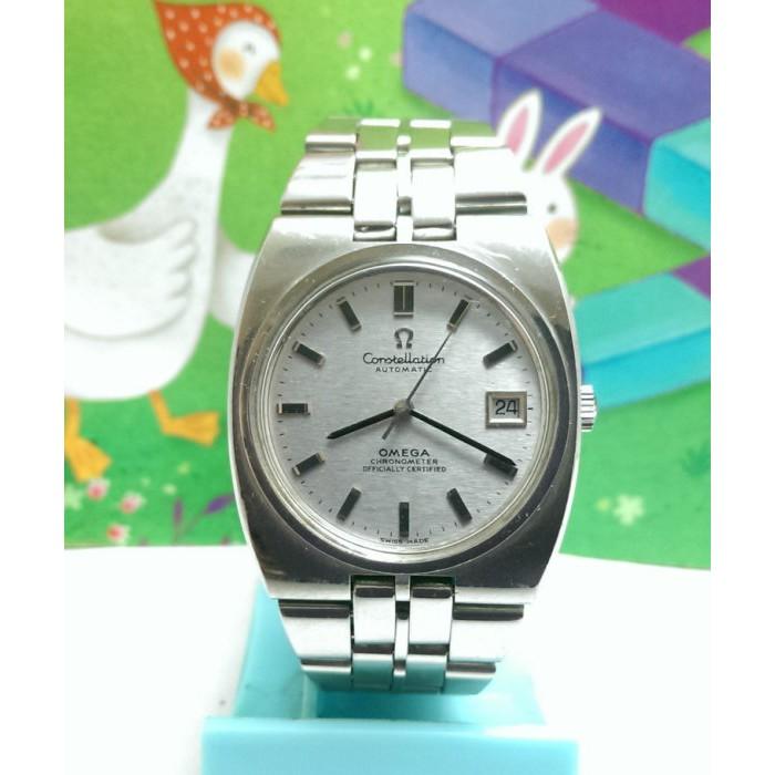師大古董鐘錶-OMEGA歐米茄日期顯示,原裝龍頭,錶帶,constellation天文台系列不鏽鋼自動上鍊機械男錶