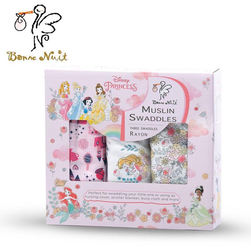 【衛立兒生活館】Bonne Nuit 迪士尼竹纖維包巾(三入裝)-公主系列