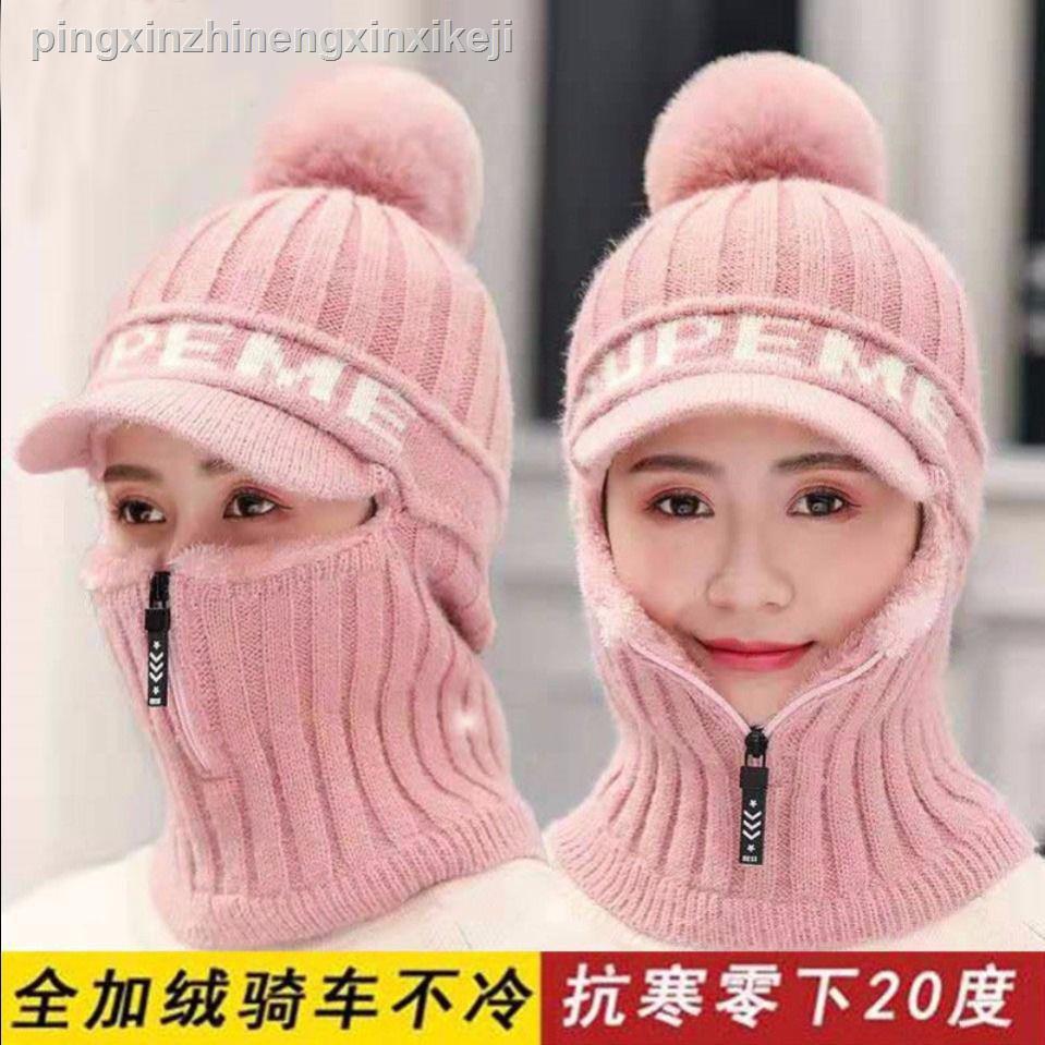 新款 秋冬帽子男女學生韓版百搭加絨加厚騎車防風保暖針織情侶毛線帽女