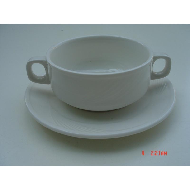 東昇瓷器餐具=大同強化瓷器羽雕雙耳濃湯碗附底盤 P0490C P9790C