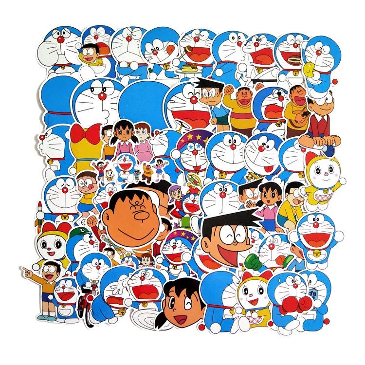 60張入 哆啦A夢 大雄 哆啦美 卡通防水行李箱貼紙 機車貼紙 筆電貼紙