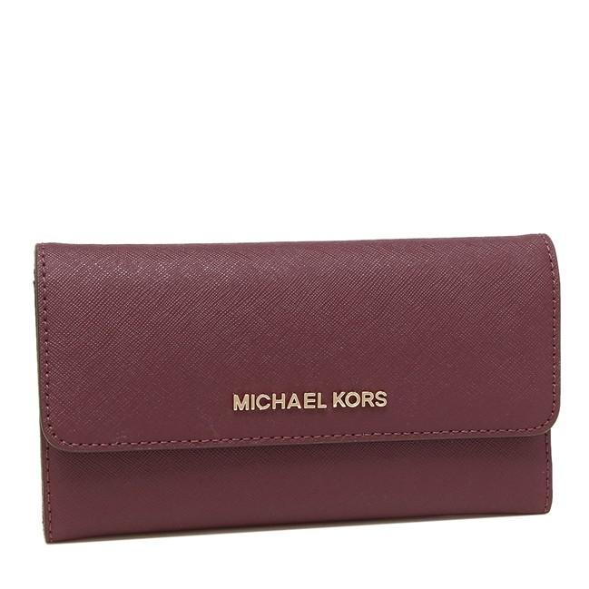 MICHAEL KORS 長夾 皮夾 錢包 十字紋防刮真皮 多卡長夾 三摺長夾 M46707 酒紅色MK 廠商直送