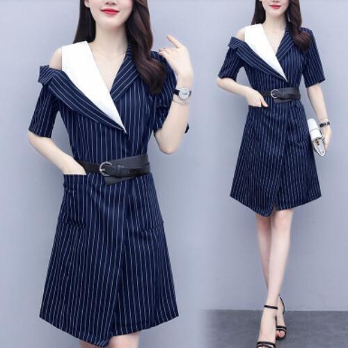 洋裝 拼接 短袖 裙子 中大尺碼 L-5XL韓版大碼胖mm穿不規則條紋顯瘦連身裙 R025B-7080.胖胖美依