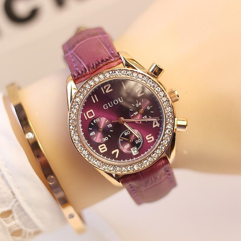 #爆款熱銷古歐GUOU奢華女神三眼女士真皮錶帶手錶 水鑽