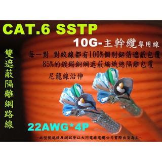 [瀚維 二號店] 10G主幹纜專用 大同 CAT.6 SSTP 305M 22AWG*4P 雙遮掩 隔離 網路線