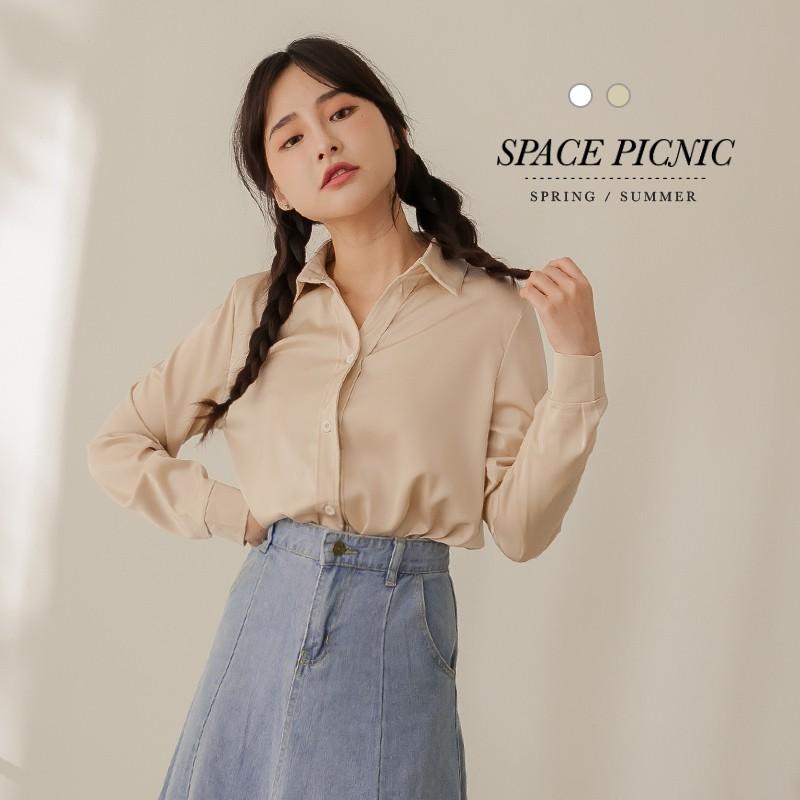 Space Picnic|素色緞面長袖襯衫(現貨)【C21011058】