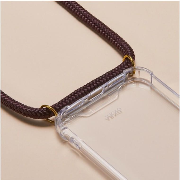 Arno 編繩背帶透明iPhone手機殼_摩卡可可