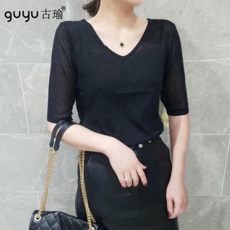 GUYU古瑜冰絲針織T恤女生夏天薄款清爽透氣V領半袖上衣