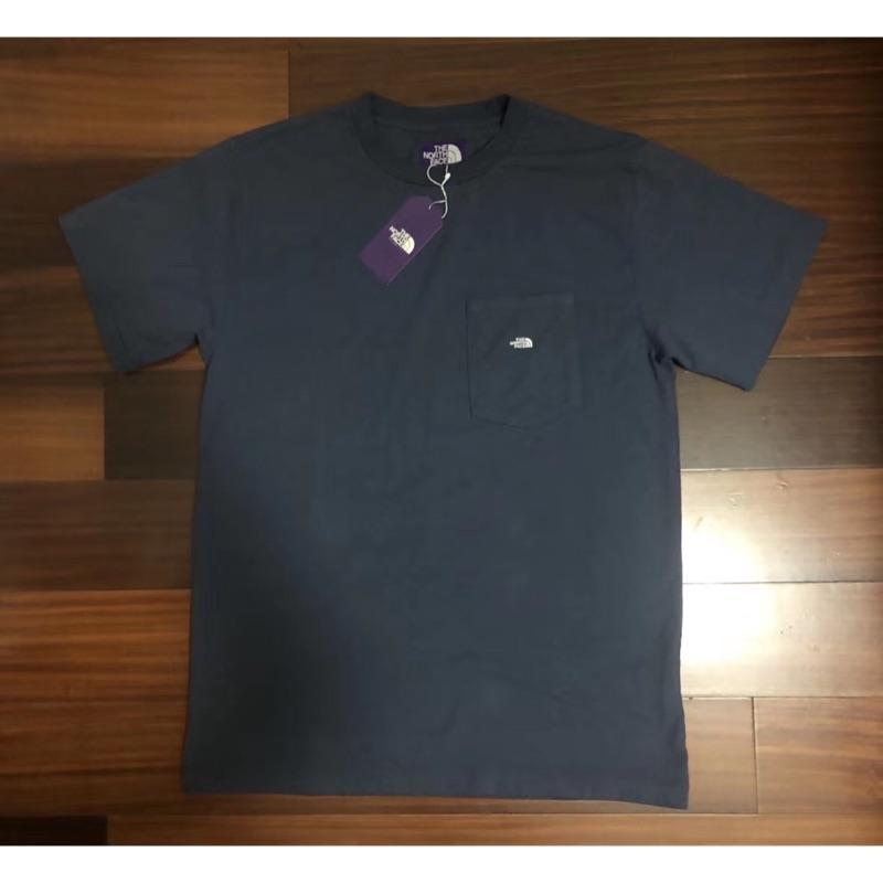 日本版the north face 紫標TNF口袋hs pocket tee武藏深藍色短袖T恤tee