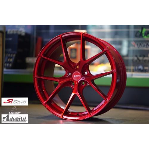 【FK鋁圈】19吋 5/120 GS15V 糖果紅車面+紅色精油