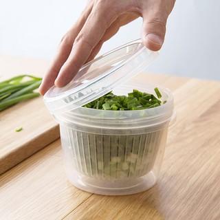 ACTღ水果蔥花保鮮盒廚房姜蒜收納盒冰箱便攜塑料圓形瀝水密封盒