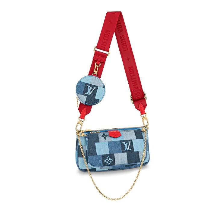 專柜正品 Louis Vuitton 路易威登 LV包包 M44990 新款藍色帆布三合一 斜挎麻將包 肩背包