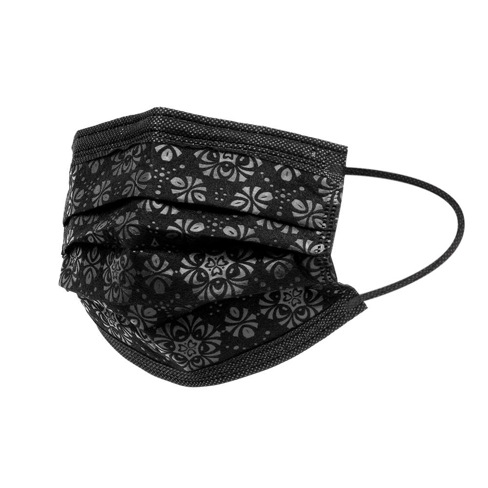 【立滋】時尚造型口罩 三層防護口罩 防護口罩/非醫療 台灣製 (10片/包) 煙花黑