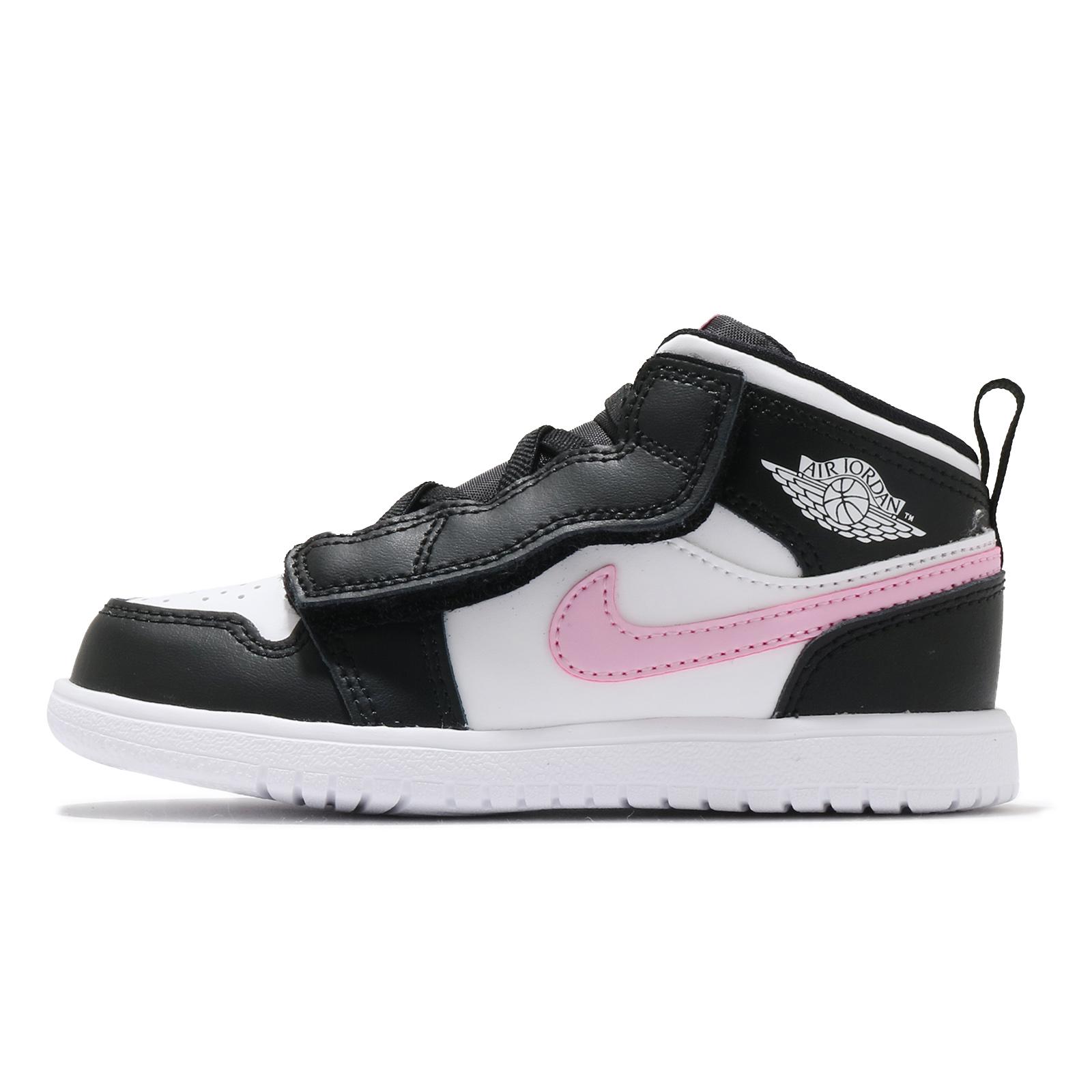 Nike 童鞋 Jordan 1 Mid ALT TD 黑 白 粉紅 魔鬼氈 幼童 喬丹【ACS】 AT4613-103