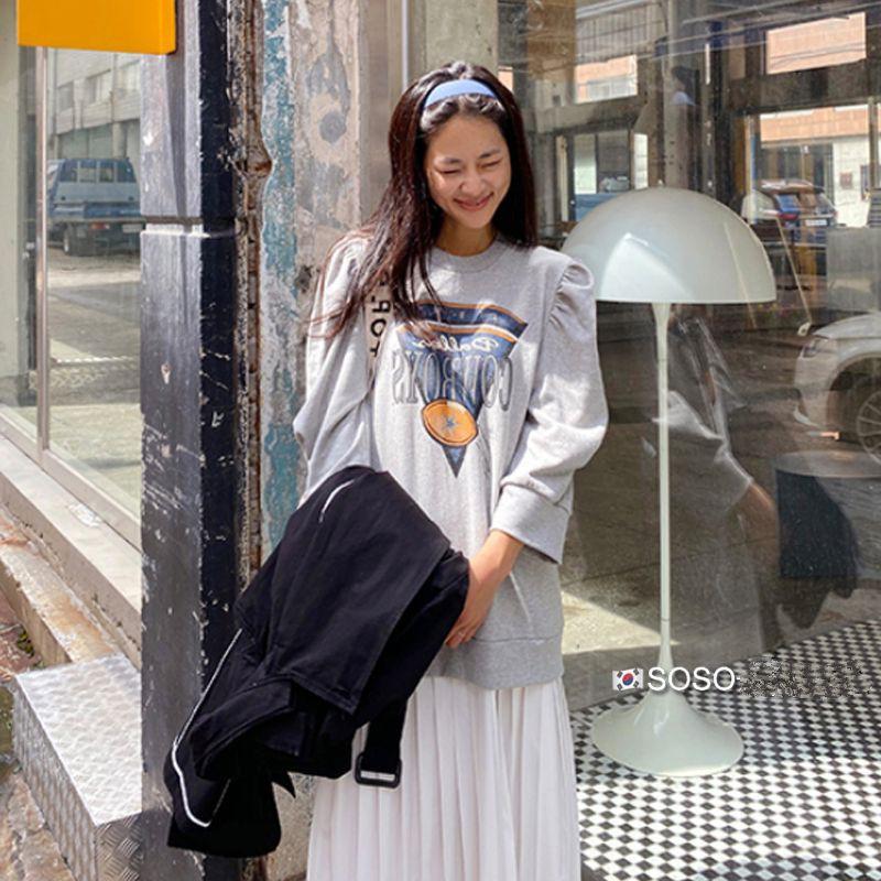 韓國chic美式休閒減齡字母拼接百摺長洋 韓妞穿搭 修飾身型 拉長比例 官網同步 連線款