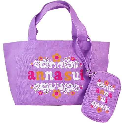 ANNA SUI 安娜蘇 粉紫玩樂托特包/手提袋/手提包 附手機袋