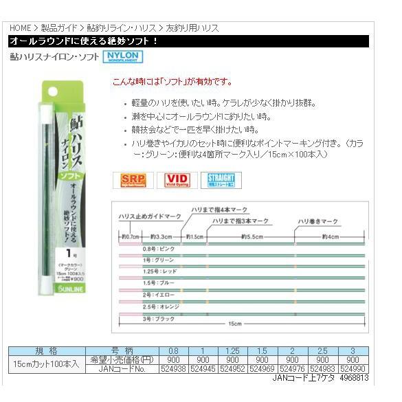 五豐釣具-SUNLINE 鮎用三.四本錨ハリスナイロン・ソフト(尼龍線) 250元