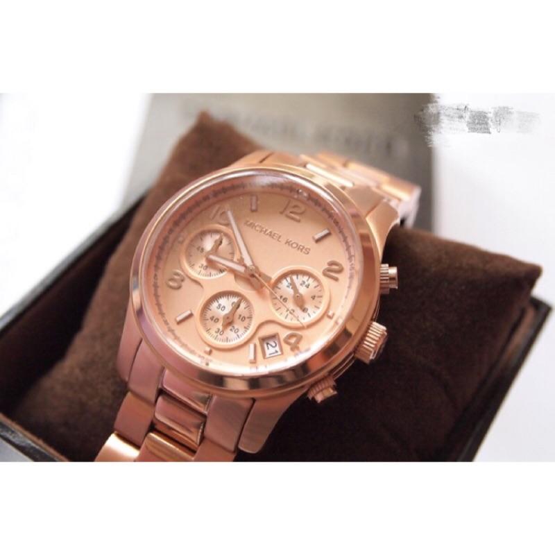 ㊣☆ Michael kors MK5128三眼計時手錶-玫瑰金 ☆