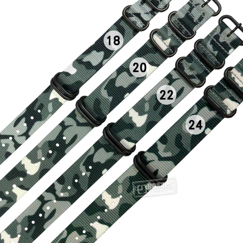 Watchband / 18.20.22.24 mm / 各品牌通用 潮流迷彩 輕便柔軟 黑鋼扣頭 尼龍錶帶 灰綠色
