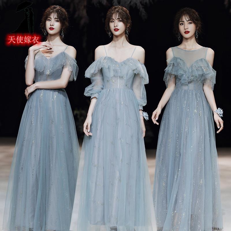 姐妹團伴娘服新款氣質宴會簡約大氣長款生日閨蜜晚禮服連衣裙