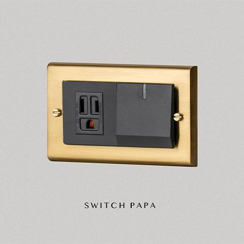 【SWITCH PAPA】鋅合金銅金Glatima螢光1開1插