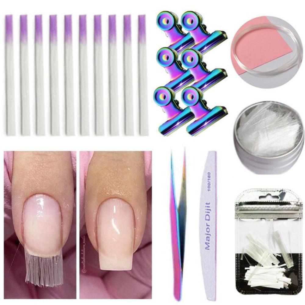 玻璃纖維到丙烯酸指甲沙龍的玻璃纖維指甲釘美甲