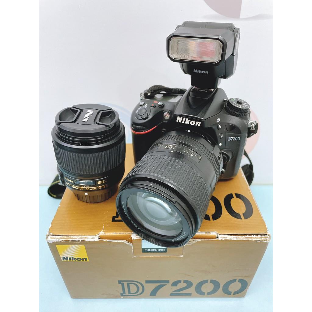 NIKON D7200 相機 + 18-300MM VR鏡頭&35mm 定焦鏡頭 #二手單眼相機 #漢口店 35082