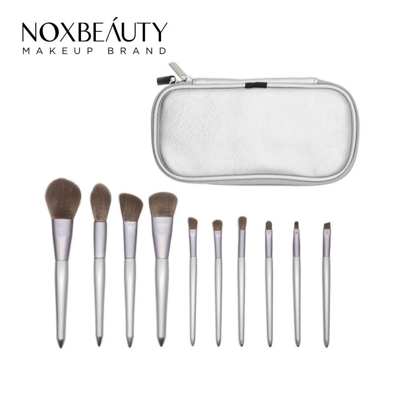 NOXBEAUTY 10支銀色化妝刷 刷具 帶刷包