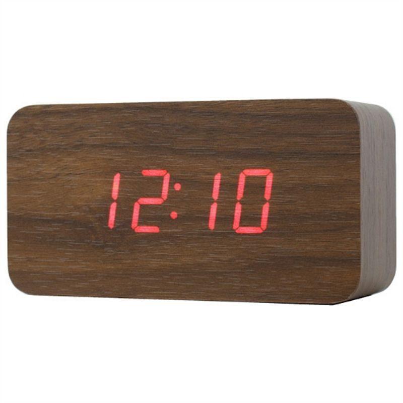 【3/3免運】宜得利 木紋LED數位鐘 電子鐘 可接USB 鬧鐘/溫度/日期 三段模式