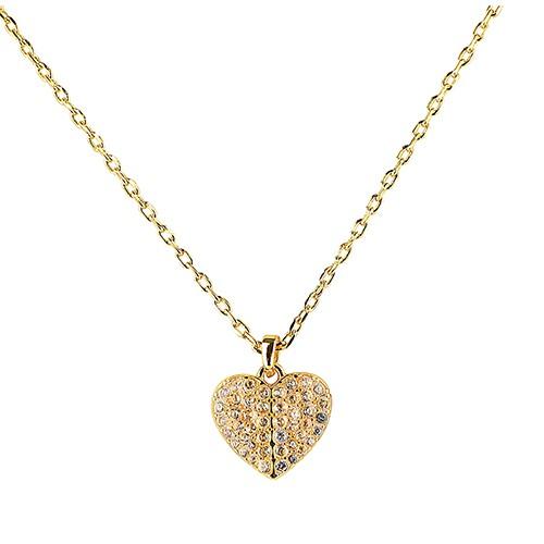 kate spade HEART TO HEART 黑桃LOGO愛心設計鑽鑲飾項鍊(金x白) 廠商直送