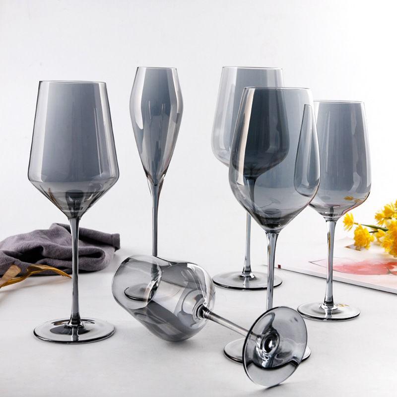 《现货》歐式電鍍煙灰色水晶玻璃高腳杯高貴灰色紅酒杯香檳杯離子鍍酒杯子.BN