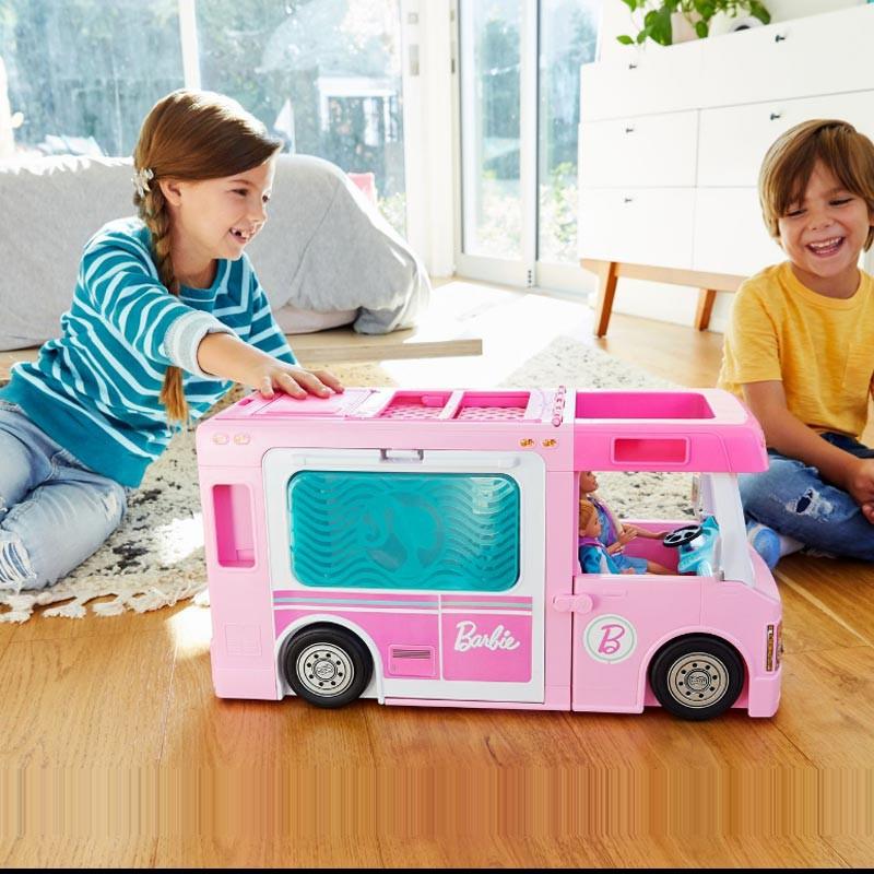 【芭比娃娃】芭比娃娃禮盒套裝女孩夢想房車城堡玩具公主露營車過家家廚房玩具