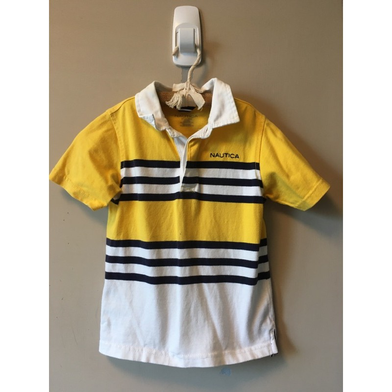 nautica 條紋 黃色 男童 polo 衫(3T)