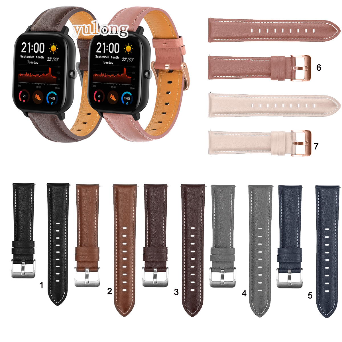 Huami Amazfit Gts 2 Gts2 Mini 的真皮錶帶