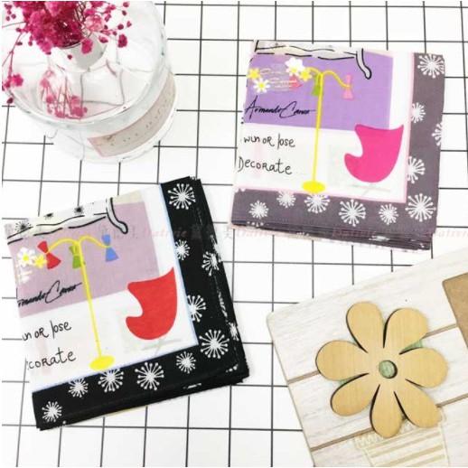 日本製 armando caruso 客廳圖樣 小方巾 領巾 優雅 純棉 親膚 日本手帕