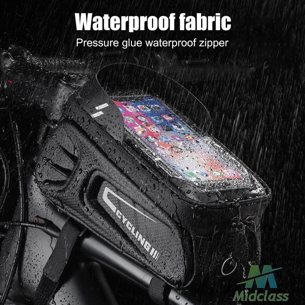 (現貨)EVA硬殼自行車包前梁包山地車騎行裝備手機觸屏防水上管包【中性logo】
