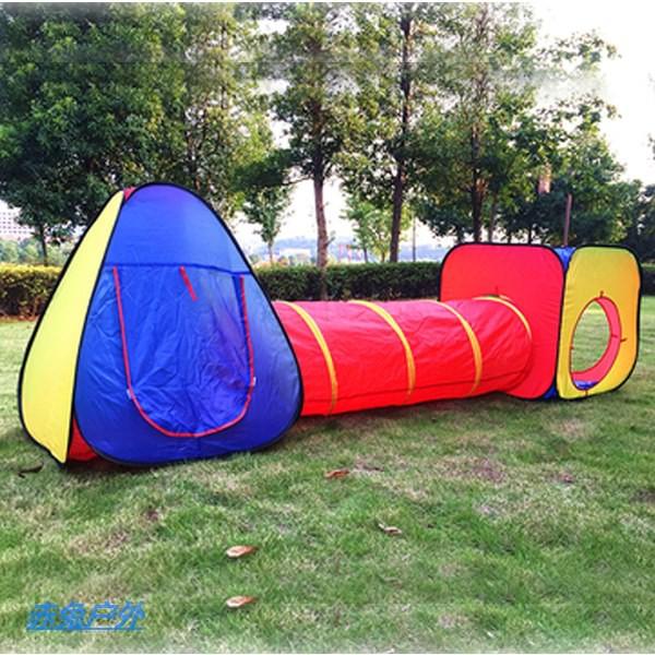 户外休闲帐篷 可愛兒童帳篷 游戲屋 寶寶嬰兒玩具屋 室內戶外 三件套 組合隧道帳篷赤兔户外