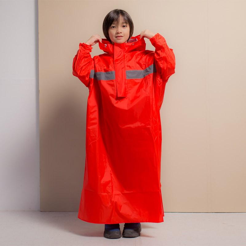Brightday藏衫背包兒童太空連身式風雨衣-紅