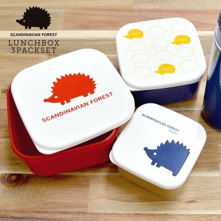 ♡米多綠日貨♡ 新款 ✨ MOZ 北歐雜貨 刺蝟剪影 餐盒三件組 ~ 便當盒 水果盒 餅乾盒 收納 保鮮盒 餐具 野餐