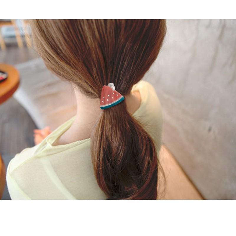 枘柒胡 飾品 韓國髮飾 夏日西瓜小熊草莓皮筋 醋酸板材 清新髮圈 少女頭飾